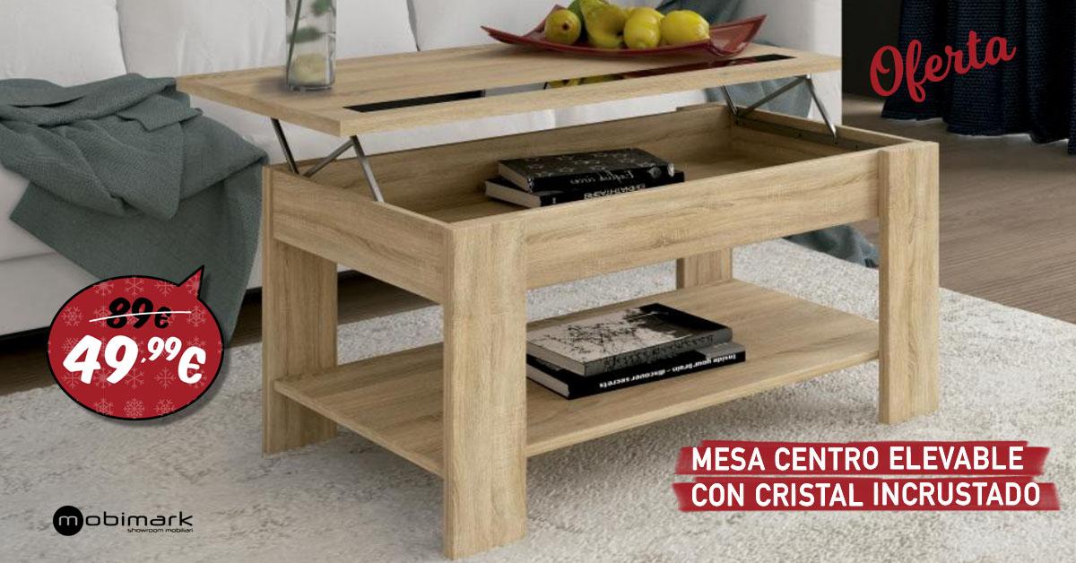 Mobimark Rebajas Mesa centro elevable + Cristal